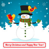 Funny Cartoon Snowman on Christmas Background. Royalty Free Stock Photos