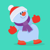 Funny Cartoon Snowman Flat Vector Icon Royalty Free Stock Photos