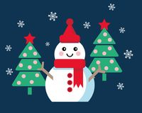 Funny cartoon snowman. Vector illustration with snowman and two Christmas trees Stock Photos