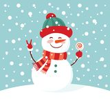 Funny cartoon snowman on the mountain, postcard,  illustration with a snowman in the top hat.  Royalty Free Stock Photos