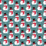 Funny cartoon snowman. Sesmless vector illustration with snowmen in hat Stock Images