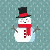 Funny cartoon snowman. Vector illustration with snowman in top hat Stock Images