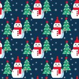 Funny cartoon snowman. Vector seamless illustration with snowmen and Christmas trees Stock Images