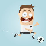 Funny cartoon soccer player Royalty Free Stock Photography