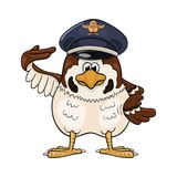 Cartoon sparrow in pilot service cap. Funny cartoon sparrow in service cap with pilot badge makes a salute by rising the right wing to his cap Stock Photos