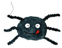 Funny cartoon spider. Watercolor hand drawn illustration. Halloween card