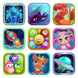 Funny cartoon square app icons Stock Photo