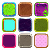 Funny cartoon square frames for app icons design. GUI assets, on white. Game elements set royalty free illustration