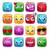 Funny cartoon square jelly characters Royalty Free Stock Photography