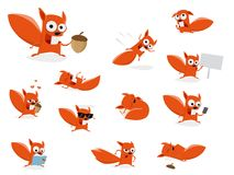 Funny cartoon squirrel collection Stock Photography