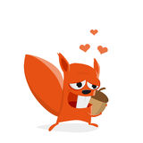 Funny cartoon squirrel in love with a nut Royalty Free Stock Photo