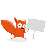 Funny cartoon squirrel showing a sign Stock Images