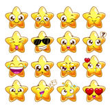 Funny cartoon star character emotions set Royalty Free Stock Photography