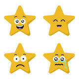 Funny cartoon star character emotions set isolated on white Royalty Free Stock Photo