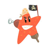 Funny cartoon starfish pirate holding black flag colorful character vector Illustration Royalty Free Stock Photography