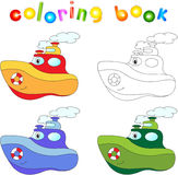 Funny cartoon steamship. Coloring book for children Royalty Free Stock Images