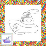 Funny cartoon steamship. Coloring book for children Stock Photography
