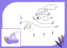 Funny cartoon steamship. Connect dots and get image. Educational Royalty Free Stock Photos