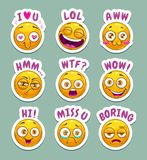 Funny cartoon stickers with yellow emoji face and text. stock illustration