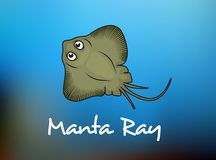 Funny cartoon stingray or manta. Manta Ray swimming underwater with its dorsal fins spread open viewed from above on a blue background, cartoon style Royalty Free Stock Photography