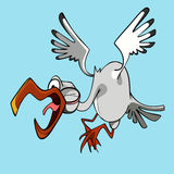 Funny cartoon stork flying bird with open beak and shouts Stock Photography