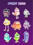 Funny cartoon style bird stickers Royalty Free Stock Photos