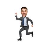 Funny cartoon style businessman jumping. Business and success concept - funny laughing cartoon style businessman jumping Stock Photos