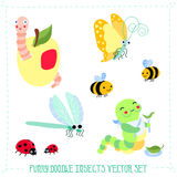 Funny cartoon style doodle insects vector set. Funny vector set with different cute insects Stock Photos