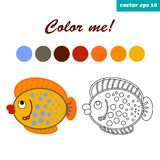 Coloring book fish. Funny cartoon style fish. isolated illustration on white background. coloring page for children and preschool kids Royalty Free Stock Images