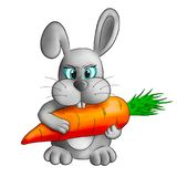 Funny cartoon rabbit with carrot stock photography