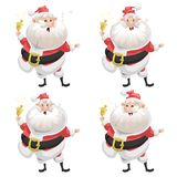 Funny cartoon style set of smiling Santa Claus with ring bell character icon.  Christmas seasonal vector. Royalty Free Stock Photos