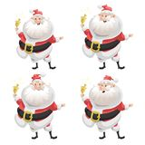 Funny cartoon style set of smiling Santa Claus with ring bell character icon.  Christmas seasonal vector. Stock Images