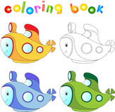 Funny cartoon submarine. Coloring book for children Royalty Free Stock Photos