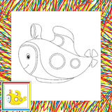 Funny cartoon submarine. Coloring book for children Stock Images