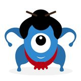 Funny cartoon sumo wrestler cyclops Royalty Free Stock Images