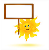 Funny cartoon sun with banner Royalty Free Stock Image