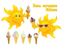 Funny cartoon sun with ice cream Stock Photos