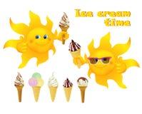 Funny cartoon sun with ice cream Stock Photos