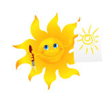 Funny cartoon sun painted picture Royalty Free Stock Photography