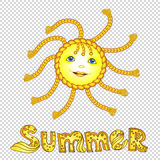 Funny cartoon sun with pigtail. Eps-10 Royalty Free Stock Photo