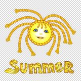 Funny cartoon sun with pigtail. Eps-10 Royalty Free Stock Photos