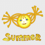 Funny cartoon sun with pigtail. Eps-10 Stock Image