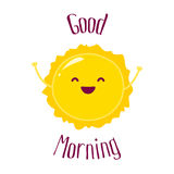 Funny cartoon sun raises hands up and smiles. Good Morning card. Flat style. Vector illustration Royalty Free Stock Photography