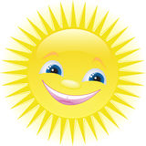 Funny cartoon sun smiling Royalty Free Stock Image