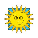 Funny cartoon sun. Funny sun cartoon vector illustration yellow on blue Royalty Free Stock Images