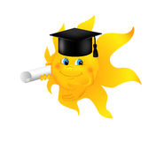 Funny cartoon sun wearing graduation cap Stock Images