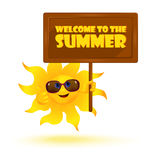 Funny cartoon sun wearing sunglasses with banner Stock Image
