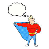 funny cartoon superhero with thought bubble Royalty Free Stock Photography