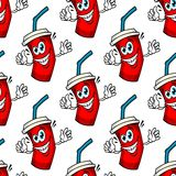 Funny cartoon takeaway soda seamless pattern. Seamless pattern of cartoon soda characters with funny red takeaway cups covered lid with a drinking straw on white royalty free illustration