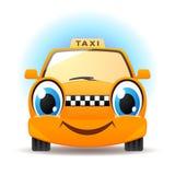 Funny cartoon taxi. Vector car icon royalty free illustration